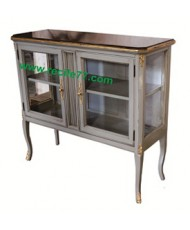 Console 2 Glass Door 2 Shelves GRA Finish